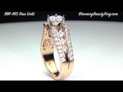 Rose Gold Engagement Rings For Her By BloomingBeautyRing.com