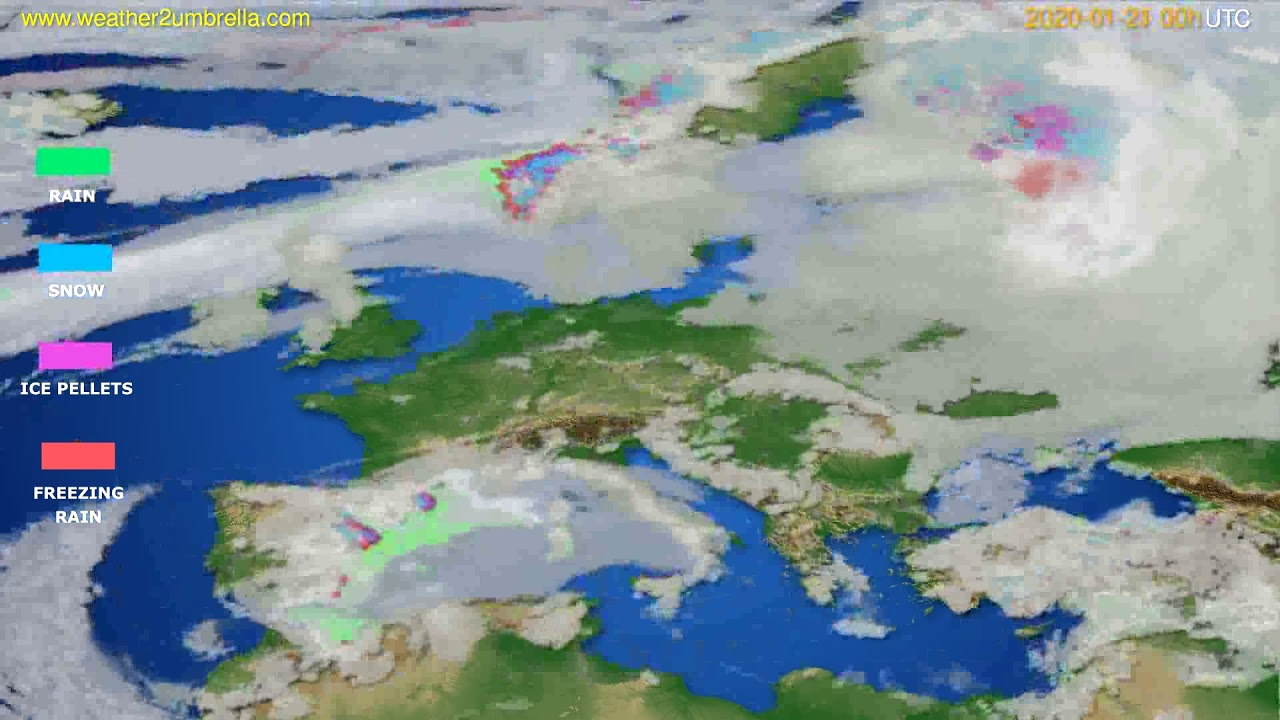Precipitation forecast Europe // modelrun: 00h UTC 2020-01-20