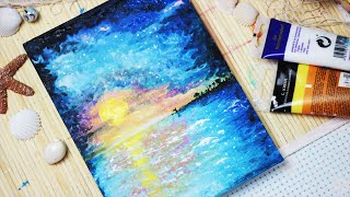 Let's paint: A Sunset at the Beach - Painting with mako - YouTube