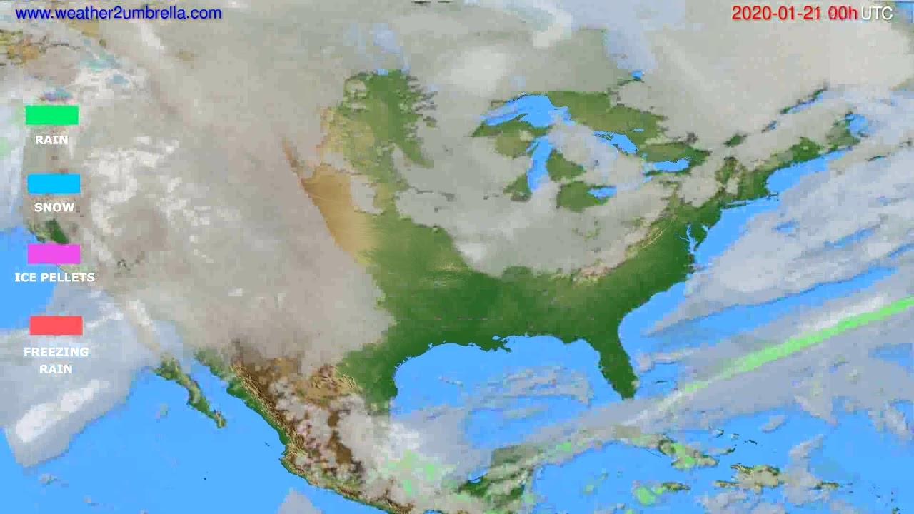 Precipitation forecast USA & Canada // modelrun: 00h UTC 2020-01-20
