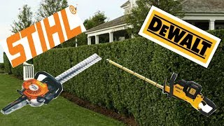 5. Gas Power Equipment VS Battery Power Equipment, Stihl HS 45 VS Dewalt 40 Volt Hedge Trimmer