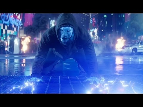 man - Electro goes on the attack in this scene from the sequel.