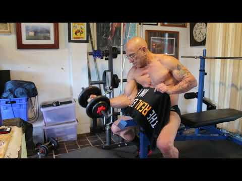 Weight Training With Muscledude_oz - Seated Dumbbell Preacher Curl