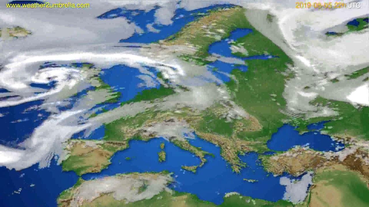 Cloud forecast Europe // modelrun: 00h UTC 2019-08-03
