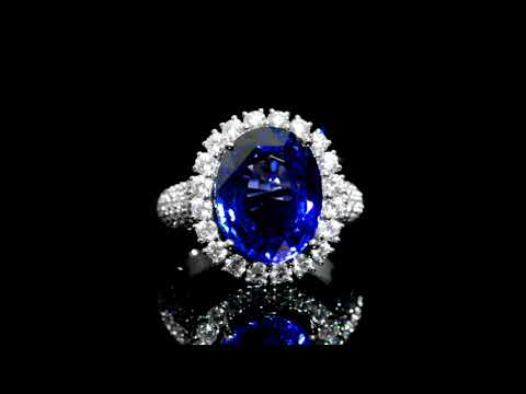 GRS Certified 9.56ct Oval Cut Sri-Lankan Blue Sapphire and Diamond Ring