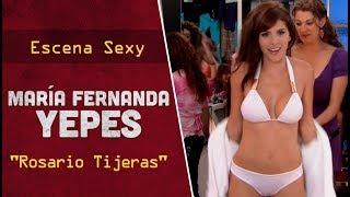 """Escena sexy con María Fernanda Yepes en bikini para la serie colombiana """"Rosario Tijeras""""."""