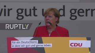 German Chancellor and Christian Democratic Union Party (CDU) leader Angela Merkel gave an election campaign speech to a...