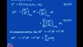 Mod-02 Lec-03  Equations For A Closed System Chemical Potential Concept Gibbs-Duhem Equation