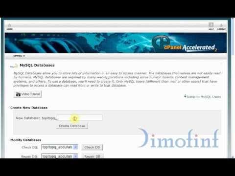 إنشاء قاعدة بيانات واسم مستخدم وكلمة مرور