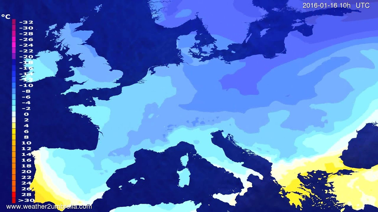 Temperature forecast Europe 2016-01-14