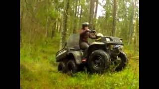 7. fun in the forest 6x6 action on polaris sportsman atv