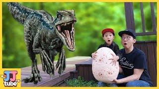 랩터 알을 갖고 뛰어라!! 쥬라기 월드 공룡 장난감 놀이 Run Run!! Raptor Blue Egg pretend paly [제이제이 튜브-JJ tube]