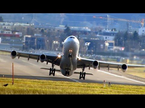 Crosswind landing & take-off / storm Felix in Zurich complete day-Sturmtief Christian