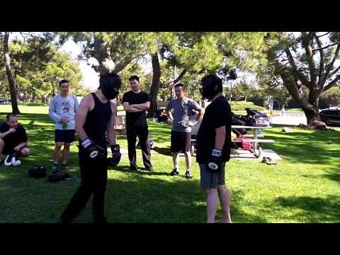 Kickboxing (shorts) vs Bujinkan Budo Taijutsu Sparring – hands only, round 1-2