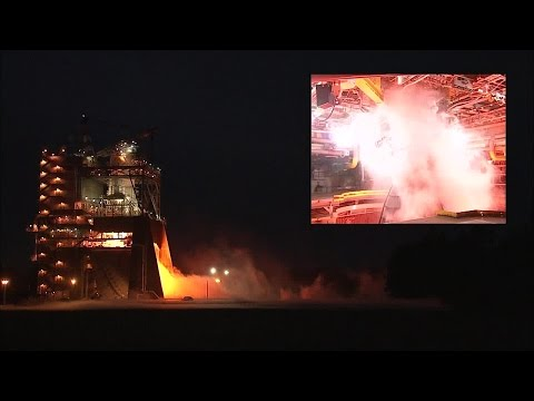 SLS RS-25 engine test video