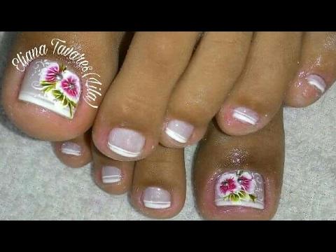 Unhas Decoradas! Flor na unha do pé
