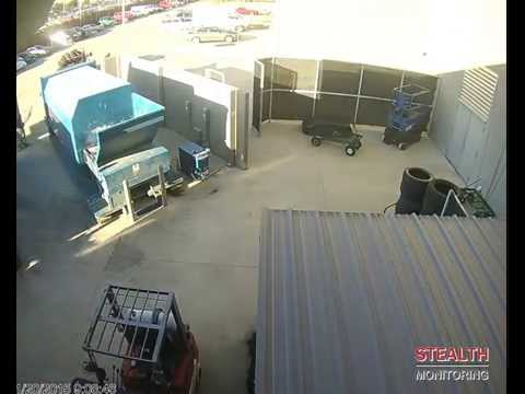 Employee stealing exhaust pipe