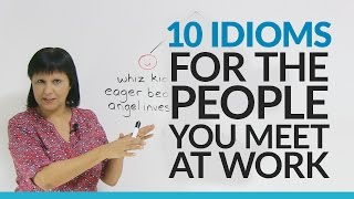 """Who's the head honcho in your company? Who's the smart alec? Find out the meaning of 10 commonly used business idioms referring to people at work. Be careful, though... you might learn what people have been saying about you or your colleagues!Download the resource with even more workplace idioms: http://www.engvid.com/english-resource/50-english-phrases-idioms-to-describe-people-in-business/Take the quiz on this lesson: http://www.engvid.com/10-english-idioms-people-at-work/TRANSCRIPTHi. I'm Rebecca from engVid. In today's lesson you'll have a chance to learn 10 expressions that are used to describe people at work. Now, these are quite commonly used expressions by native English speakers, so if you work in an English-speaking business environment then it's quite likely that you will hear some of these expressions. Okay? Let's get started.So, I've kind of divided them up for you. So, some of them are positive, some are negative, and some are neutral. What do I mean by that? It means: These people we are happy to meet, these people we are really not very happy to meet, and these people we just... Where it's okay, we're just using these expressions to describe them. Okay? We have no feelings, positive or negative. Okay.So let's look at the people we are happy to meet. So, the first one is a """"whiz kid"""". What's a whiz kid? A """"whiz kid"""" is a term that we use to describe usually a young person who's quite brilliant, very intelligent, very successful, very talented, and you know that he's on a path to a lot of success. So, often we talk about like a computer whiz kid, a young person who's got lots and lots of talent. You probably know people like that. Okay? So that's a whiz kid.Next. Next one is called an """"eager beaver"""". An """"eager beaver"""" is kind of a very hardworking, enthusiastic person. Maybe this person comes to work early and stays late, and they're always smiling and they're happy to do their work. That person is called an eager beaver. Now, I put that as a positive."""