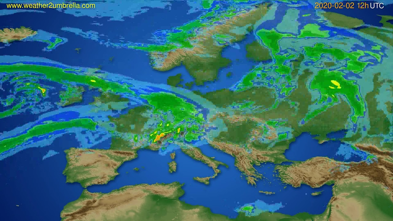 Radar forecast Europe // modelrun: 00h UTC 2020-02-02