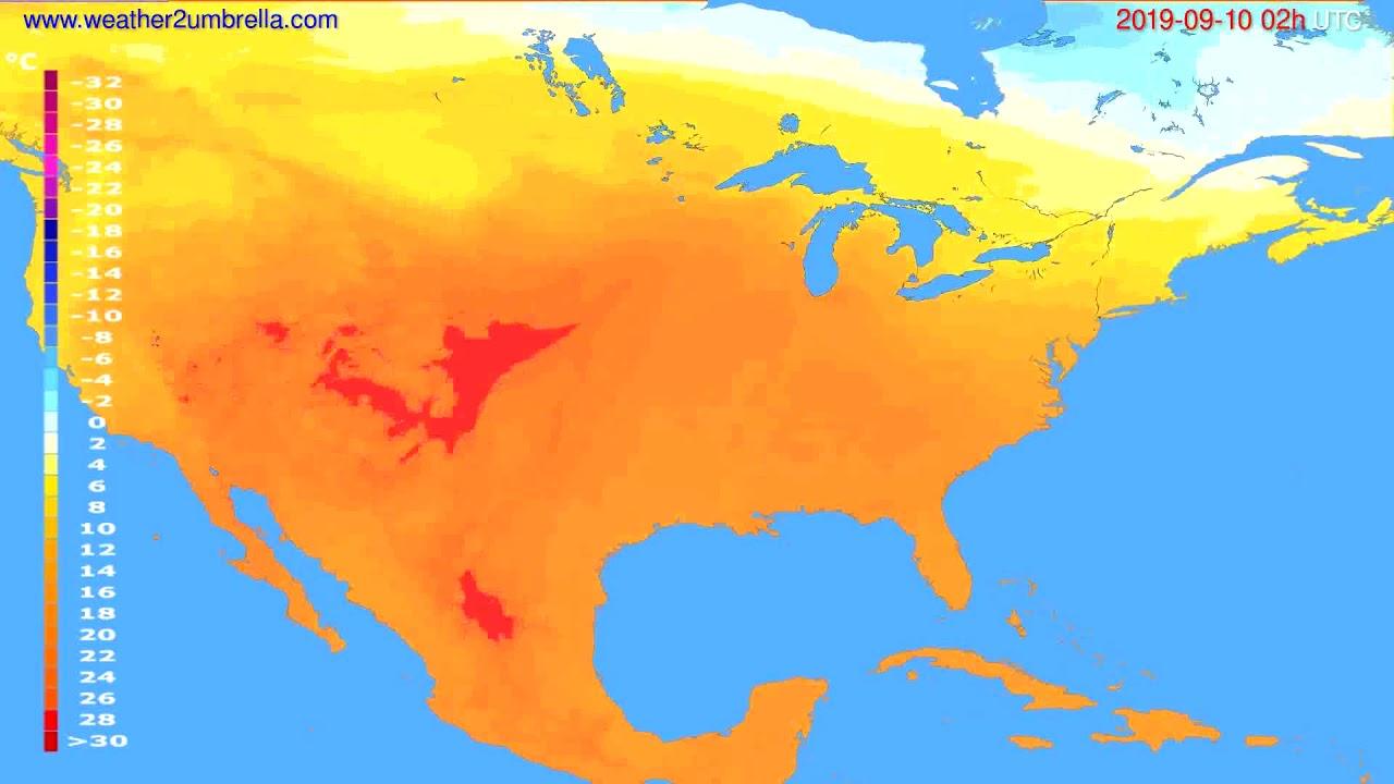 Temperature forecast USA & Canada // modelrun: 00h UTC 2019-09-08