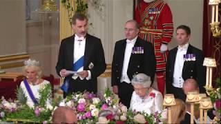 Te mostramos cómo fue la cena de gala de Felipe VI y Letizia con Isabel II en su visita oficial al Reino Unido.