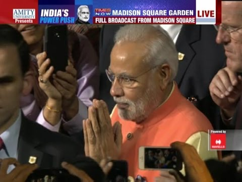 madison - Prime Minister Narendra Modi arrives at the iconic Madison Square Garden in New York where nearly 20000 strong gathering of Indian Diaspora welcomed the Indian leader. Modi will address the...