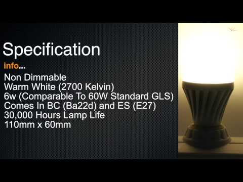 LED GLS 6 Watt BC Warm White (510 Lumens - 60W Alternative)