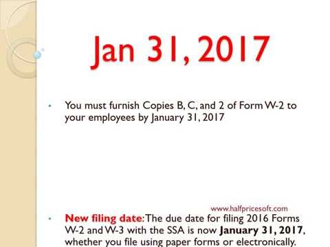 W-2 Tax Form Filing Deadline in 2017