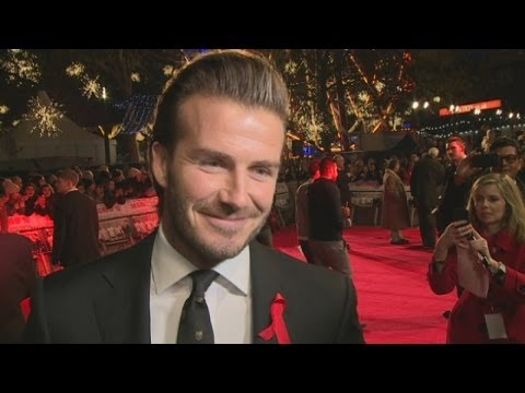 David - David Beckham gushes about his 'talented' wife Victoria and their four 'amazing' children at the premiere of The Class of 92 in London. Report by Andrea Lill...