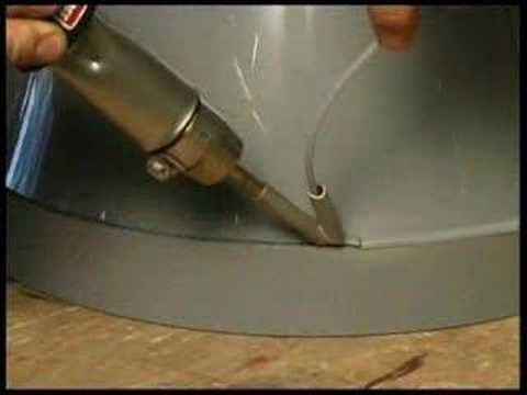 פי.וי.סי - www.plasticweldingequipment.co.uk Demonstration of Hot Air Welding of:-PVC Ventilation Pipe & Fittings.