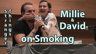 David Smokes on Set & Millie Stops it on Stranger Things Millie Bobby Brown David Harbour S1