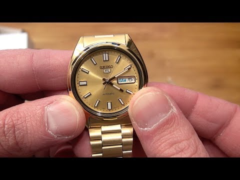 Seiko 5 Gold SNXS80K Unboxing & Review