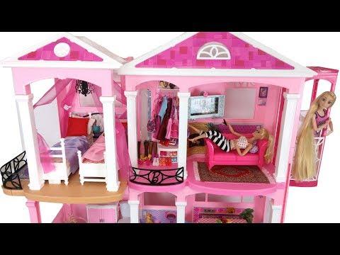 Barbie Pink House Morning Routine Rapunzel Bedroom دمية باربي البيت Rumah Barbie Casa