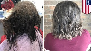 PENATA RAMBUT MENGUBAH RAMBUT GADIS 16 TAHUN YANG SEDANG DEPRESI Makeover! penata rambut Iowa mendapatkan tepuk tangan meriah setelah memberikan makeover rambut keren kepada remaja yang sedang depresi. Gadis Berusia 16 tahun pergi ke salon dengan rambut kusut dan lengket, dan meminta penata rambut Kayley Olsson untuk memangkas semua rambutnya. Remaja rupanya telah menderita depresi selama bertahun-tahun. Sampai ke titik di mana dia merasa begitu tidak berharga hingga ia tidak merawat rambutnya sendiri, dan bangun dari tempat tidurnya hanya untuk pergi ke kamar mandi. Meskipun sekolah tinggal beberapa minggu lagi, remaja harus mengambil foto sekolah pada 8 Agustus, dan memangkas rambutnya akan menjadi solusi yang termudah. Olsson merasa sedih mendengar cerita remaja dan memutuskan untuk membantu, tetapi tidak dengan memangkas seluruh rambutnya. Olsson menghabiskan lebih dari 13 jam selama dua hari untuk mengubah rambut gimbal gadis muda tersebut. Dan itu sepadan, karena makeover menakjubkan membawa senyuman yang dibutuhkan oleh wajah remaja ini, dan membuatnya merasa seperti dirinya yang dulu lagi. Olsson memposting tentang insiden di Facebook, mengakhirinya dengan mengingatkan bahwa kesehatan mental adalah masalah serius yang tidak boleh diabaikan.-------------------------------------------------------------TomoNews adalah sumber berita nyata terbaik. Kami meliputi cerita paling lucu, paling gila dan paling banyak dibicarakan di internet. Cara penyampaian kami apa adanya dan tidak mengenal batas tertentu. Jika Anda tertawa, maka kami juga sedang tertawa. Jika Anda marah, kami pun sedang marah. Kami menyampaikan berita apa adanya. Dan karena kami juga dapat menganimasikan cerita, TomoNews memberikan Anda berita yang belum pernah Anda lihat sebelumnya.Kunjungi website official untuk berita terhangat, dan tanpa sensor: http://us.tomonews.comFollow juga halaman Facebook kami: https://www.facebook.com/tomonewsidSilahkan cek aplikasi Android kami: http://bit.ly/1rddhCjSil