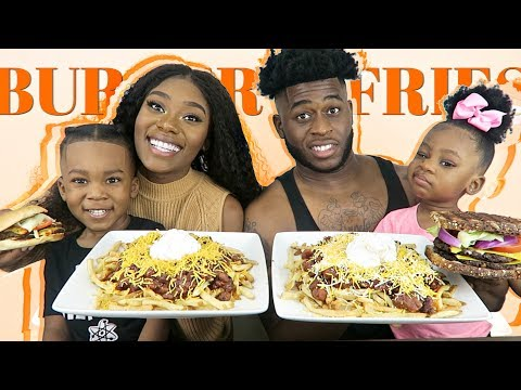 CHILI CHEESE FRIES WITH BURGERS | MUKBANG | HILARIOUS!