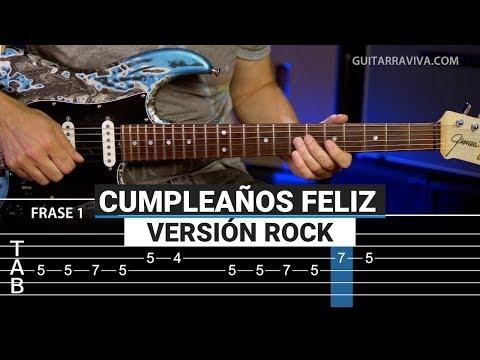 Cómo tocar Cumpleaños Feliz ROCK en guitarra eléctrica con TABS y MP3   Guitarraviva