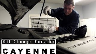 DIY oil change video for 2004 + Porsche Cayenne owners.  Dealer charges almost 300, so save yourself a couple hundred bucks and take care of it yourself.  Stay tuned after the video for outtakes and see me get a mouthful of oil lol.Music:Guts & Bourbon Kevin MacLeod (incompetech.com) Licensed under Creative Commons: By Attribution 3.0http://creativecommons.org/licenses/by/3.0/