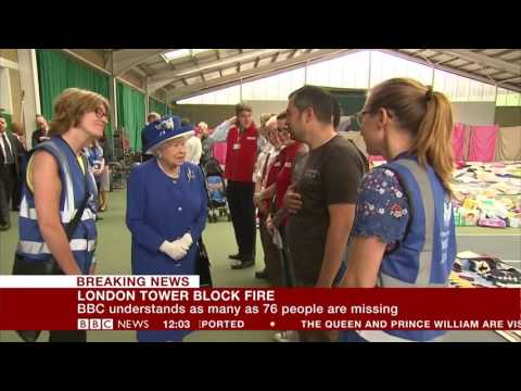 London fire Queen and Prince William visit Grenfell Tower centre - BBC News