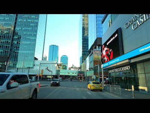 Edmonton 4K, Driving in Downtown - Alberta, Canada