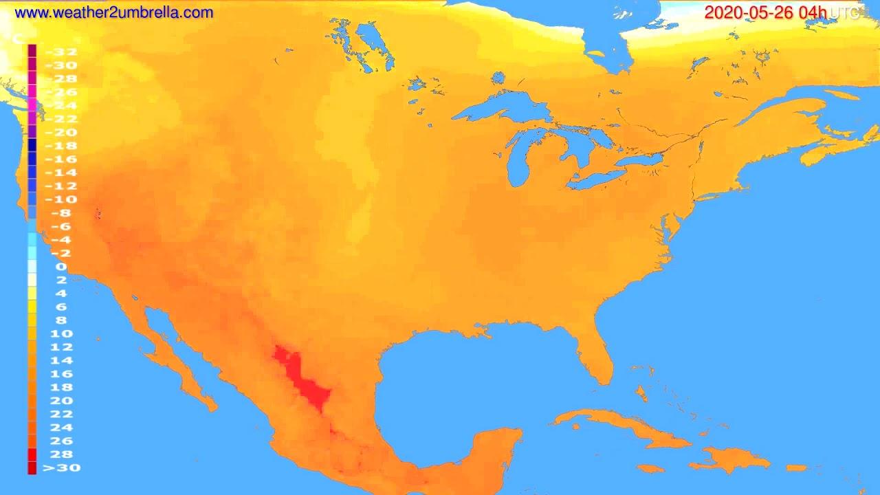 Temperature forecast USA & Canada // modelrun: 12h UTC 2020-05-25