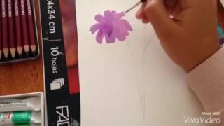 flor en acuarela - YouTube