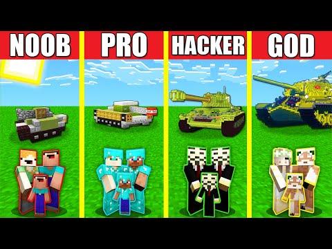 Minecraft Battle: TANK BUILD CHALLENGE - NOOB vs PRO vs HACKER vs GOD / Animation HOUSE CAR PANZER