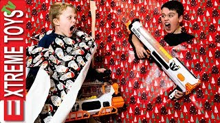 Wrapping Paper Wreck! Ethan Vs Cole Nerf Battle in the Holiday Mess!