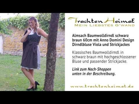 TrachtenHeimat - Almsach Baumwolldirndl schwarz braun mit Anno Domini Design Dirndlbluse Viola