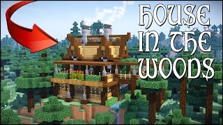 MINECRAFT: HOUSE IN THE WOODS!! [How To Make A Wooden Mansion] Survival Cliff House Tutorial