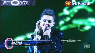 """Video Zhavia sings """"Man Down""""  Rihanna cover (vs Evvie McKinney )  with her boots off The Four Finale MP3, 3GP, MP4, WEBM, AVI, FLV Mei 2019"""