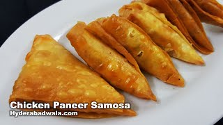 Chicken Paneer Samosa from Maimoona Yasmeen's RecipesIngredients:Chicken with bones: 250 gramsSalt: 1/4th teaspoon + 1/4th teaspoonBlack pepper powder: 1/4th teaspoonWater: 3/4th cupOil: 2 tablespoons + for fryingDiced onion: 4 tablespoonsGarlic cloves: 2Paneer block: as per the requirementRed chilli powder: 3/4th teaspoonCoriander/dhaniya powder: ½ teaspoonWhole green chillies: 3Chopped coriander: 1 tablespoonSamosa strips: as per the requirementPaste of all purpose flour and water: for the sealingProcedure:1. Add chicken with bones to a pan. Add 3/4th cup water, 1/4th teaspoon salt and 1/4th teaspoon black pepper powder to the chicken.2. Mix well, close the lid.3. Cook on medium flame till the chicken is tenderized4. Allow this to cool, remove the bones and shred the chicken.5. Add 2 tablespoons oil to the pan.6. Add diced onion and stir fry for 30 seconds.7. Add crushed garlic and stir fry for 30 seconds.8. Add grated paneer.9. Add shredded chicken.10. Add red chilli powder, 1/4th teaspoon salt or add salt as per the taste, coriander or dhaniya powder, diced green chillies and chopped coriander. Stir fry for one minute. 11. Chicken paneer filling is ready.12. Mold samosa strips into triangular shapes. Fill with the chicken mixture.13. Seal the edges using all purpose flour or maida and water paste. 14. Add oil for frying. When the oil is hot, lower these samosas into the oil and fry on both sides till they turn light brown.15. Chicken Paneer Samosas are ready.