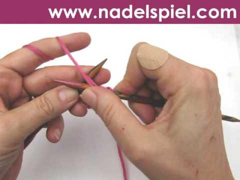 Stricken lernen * Aus einer linken Masche eine linke Masche verschränkt herausstricken