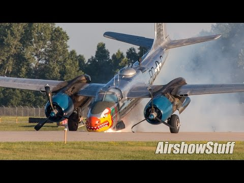 A26 Invader Nose Gear Collapse On Landing