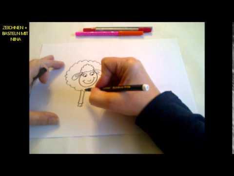 Zeichnen lernen für Anfänger (Kleine verliebte Schafe zum Valentinstag malen)